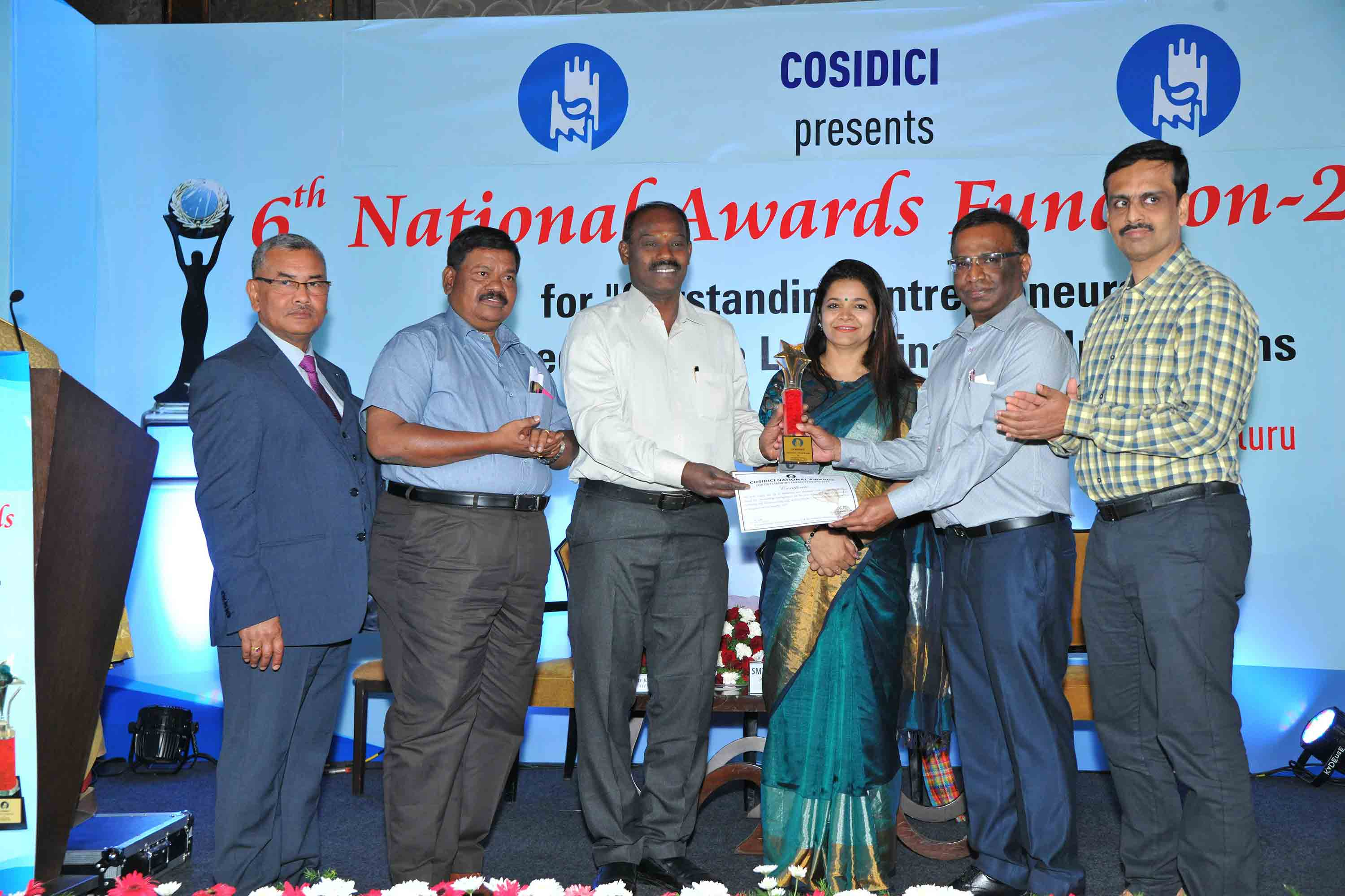 - Promoter of Numaan Industries, Hosur, receiving BEST Entrepreneur Award from COSIDICI during its National Awards 2019 Program held at Bengaluru